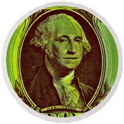 Round Beach Towel featuring the digital art George Washington - $1 Bill by Jean luc Comperat