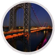 George Washington Bridge At Night Round Beach Towel