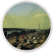 Round Beach Towel featuring the photograph George Washington Bridge  by Cole Thompson