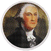 George Washington In Dots  Round Beach Towel