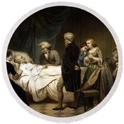 George Washington On His Deathbed Round Beach Towel by War Is Hell Store