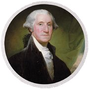 Round Beach Towel featuring the painting George Washington Portrait by Gilbert Stuart
