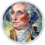 George Washington Portrait Round Beach Towel