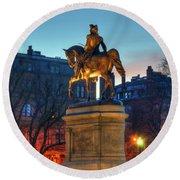 Round Beach Towel featuring the photograph George Washington Statue In Boston Public Garden by Joann Vitali