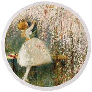 Georges Picard French 1857 1946 Romance Under The Blossom Tree Round Beach Towel