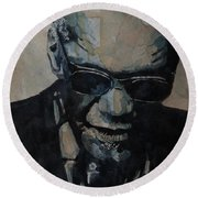 Georgia On My Mind - Ray Charles  Round Beach Towel by Paul Lovering