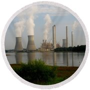 Georgia Power Plant Round Beach Towel by Donna Brown