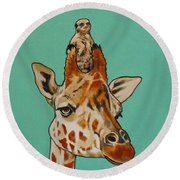 Gerald The Giraffe Round Beach Towel