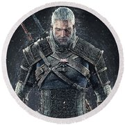 Round Beach Towel featuring the digital art Geralt Of Rivia - Witcher  by Taylan Apukovska