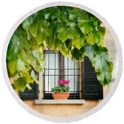 Round Beach Towel featuring the photograph Geraniums On Windowsill by Silvia Ganora