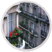 Geraniums - Paris Round Beach Towel