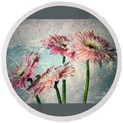 Gerbera Daisies With A Splash Round Beach Towel