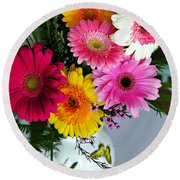 Gerbera Daisy Bouquet Round Beach Towel by Marilyn Hunt