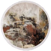 Round Beach Towel featuring the mixed media Gerberie - 152s by Variance Collections