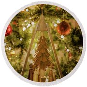 German Christmas Pyramid Round Beach Towel