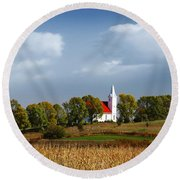 Round Beach Towel featuring the photograph German Church On The Hill by Yumi Johnson