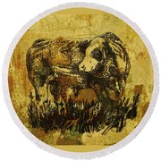 German Fleckvieh Bull 21 Round Beach Towel