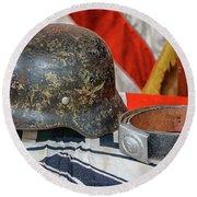 German Helmet Round Beach Towel
