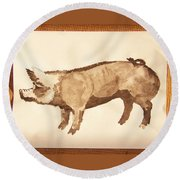 Round Beach Towel featuring the photograph German Pietrain Boar 31 by Larry Campbell