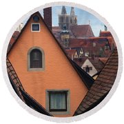 German Rooftops Round Beach Towel
