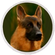 German Shepherd Round Beach Towel