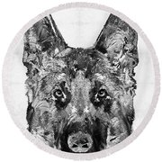 Round Beach Towel featuring the painting German Shepherd Black And White By Sharon Cummings by Sharon Cummings