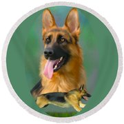 German Shepherd Breed Art Round Beach Towel