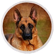 German Shepherd Dog Portrait  Round Beach Towel