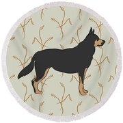 Round Beach Towel featuring the digital art German Shepherd Dog With Field Grasses by MM Anderson