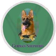 German Shepherd With Name Logo Round Beach Towel