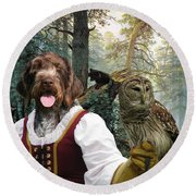 German Wirehaired Pointer Art Canvas Print - Lady Owl And Little Bears Round Beach Towel