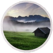 Geroldsee Forest With Beautiful Foggy Sunrise Over Mountain Peaks, Bavarian Alps, Bavaria, Germany. Round Beach Towel