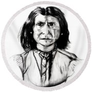 Round Beach Towel featuring the drawing Geronimo by Ayasha Loya
