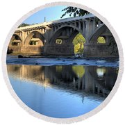 Gervais Street Bridge-1 Round Beach Towel