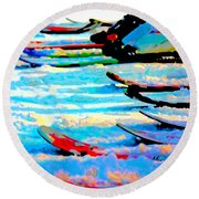 Round Beach Towel featuring the digital art Get In Line 2017 by Kathryn Strick