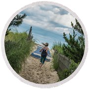 Round Beach Towel featuring the photograph Get To The Beach by T Brian Jones
