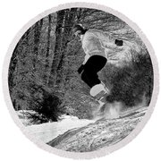 Round Beach Towel featuring the photograph Getting Air On The Snowboard by David Patterson