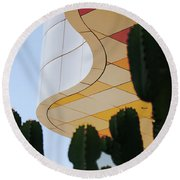 Getty Architecture Cactus Color Curves  Round Beach Towel