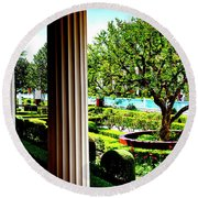 Getty Villa Peristyle Garden Round Beach Towel by Joseph Hollingsworth