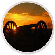 Gettysburg Cannon Sunset Round Beach Towel by Randy Steele