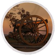 Gettysburg - Cannon With Cannon Balls At Sunrise Round Beach Towel
