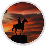 Gettysburg - Gen. Meade At First Light Round Beach Towel