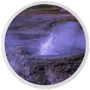 Geyser Cone, Iceland Round Beach Towel