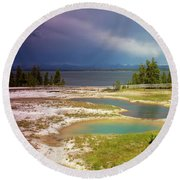 Round Beach Towel featuring the photograph Geysers Pools by Dawn Romine