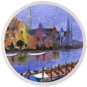 Round Beach Towel featuring the painting Ghent by Jamie Frier