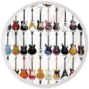 Guitar Legends Round Beach Towel