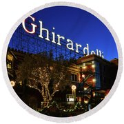 Ghirardelli Square Round Beach Towel by James Kirkikis