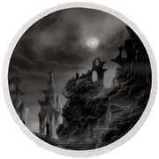 Ghost Castle Round Beach Towel