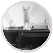 Ghost Cat, With Typewriter Round Beach Towel