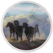 Ghost Horses Round Beach Towel